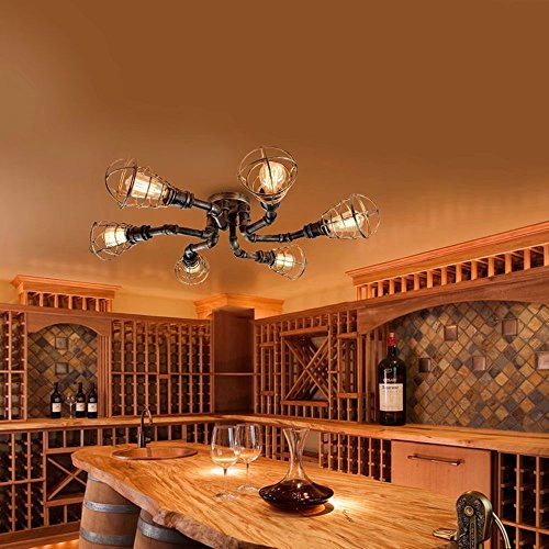 Lingkai Vintage Eisen Lampe Wasserrohr Decke Leuchte Antike Messing 6 Licht Draht Guard Semi Flush Deckenleuchte (Semi Antik-eisen Flush)