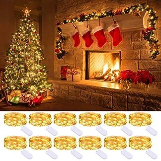 Litogo Luci Led a Batteria (12 Pezzi), Lucine Led Decorative 2M 20 LED Filo di Rame Stringa Ghirlanda Luminosa Interno/Esterni Per Camere, Festa, Giardino, Natale, Halloween, Matrimonio