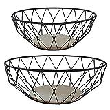 MACOSA CPW30620 2er Set hochwertige Design-Körbe Metall/Holz rund | Obst-Schale Deko-Korb Tisch-Dekoration | Accessoire Drahtkorb Draht-Schale