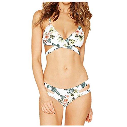 Sequined Floral Top (Bademode Dasongff Elegant Damen Bikini-Set Bandage Split Bademode Push-Up BH Badeanzug Beachwear Badebekleidung Floral Bikinioberteil (2XL, Sexy Weiß))