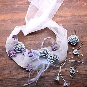 FengJingYuan-ZHUBAO Braut Blumenfedereider-Kreffband mit Haarnadel-Kopfbedeckung Anzug Hochzeitskleid-Accessoires