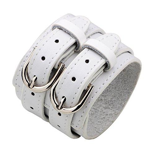 prosperveil Pulsera mujer Cinturón doble de cuero punk vintage pulsera ancha grande para hombres (blanco)