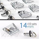 10 tlg 14mm Schnellverschluss Verkleidung Motorrad D-ring quick fastener chrom