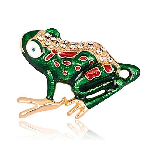 SLYlive Frosch Brosche Pins für Frauen Herren Schmuck Kostüm Geschenke Emaille Bunte Strasssteine