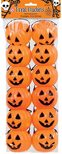 Amscan Halloween Pumpkin Shaped Plastic Treat Buckets x 12 9434c0e0939