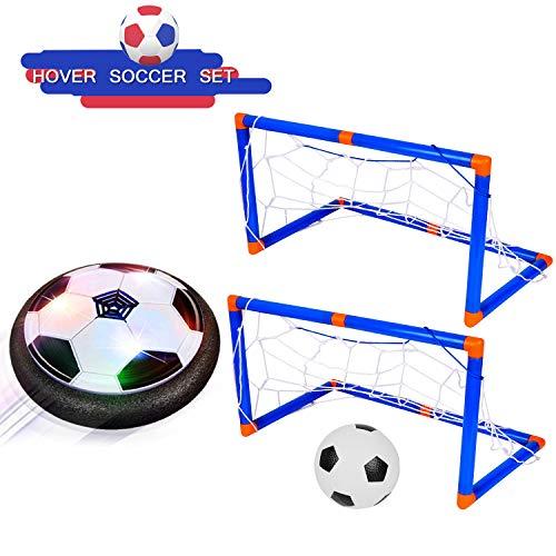 Air Power-Fußball mit LED-Leuchten, Hover-Fußball, Kinderspielzeug, das Fußball im Freien mit 2 Toren trainiert,Perfekt zum Spielen in Innenräumen für Jungs -
