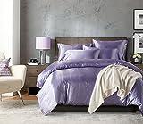 Xiongfeng Seide Bettbezug, Seide Tröster Cover, 100% Bestnote Maulbeerseide Bettwäsche - Lila 135x200cm, Kissenbezug 50x75cm