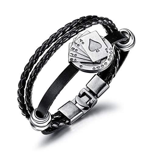 Kimddt Braided Armband-Men Black Quality Original Leder Braided Wrap-Multilayer Men es Armband,Black -