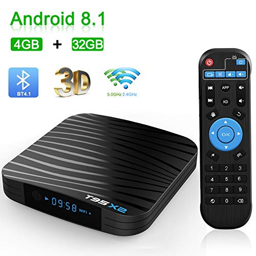 Android TV Box, T95X2 Android 8.1 TV Box 4 GB RAM/32 GB ROM Amlogic S905X2 Quad Core Unterstützung 2,4 GHz/5 GHz WiFi Bluetooth 4.1 DLNA 3D 4K UHD Super Mini TV Box