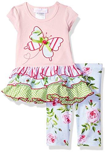 Bonnie Jean Baby Mädchen Tunika Kleid + Leggings Hose Set Blumen Schmetterling Rosa Hellblau Grün (12 monate)