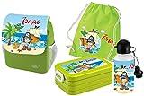 Mein Zwergenland Set 5 Kindergartenrucksack mit Brotdose Maxi, Turnbeutel Baumwolle und Flasche Happy Knirps Next Print mit Name Pirat, 4-teilig, Grün