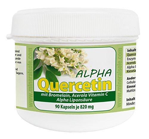 Quercetin Alpha I 90 vegane Kapseln I R-Alpha-Liponsäure I Bromelain (2400 GDU/g) - Blume, 90 Kapseln