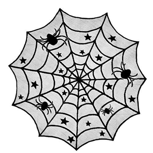 AMOYER Halloween-Dekoration-Schwarz-Spitze-Spinnen-Netz Props Kamin-Mantel-Schal-Tischdecke Abdeckung Halloween Horror Party Supplies (Supplies Speichern Halloween)