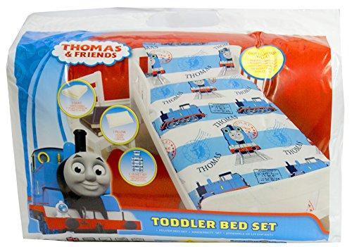 Preisvergleich Produktbild Zeichentrickfiguren Marken: Junior-Bett-Set, 4 Stück Bettwäsche Bundle Quilt, Kissen Kissenbezug, Bettbezug (Thomas der Tank)