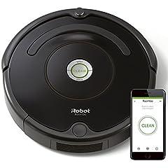 Idea Regalo - iRobot Roomba 671 Robot aspirapolvere con connessione WiFi, Adatto a tappeti e Pavimenti, Tecnologia Dirt Detect, Sistema 3 Fasi, Pulizia programmabile Grazie alla App, Nero