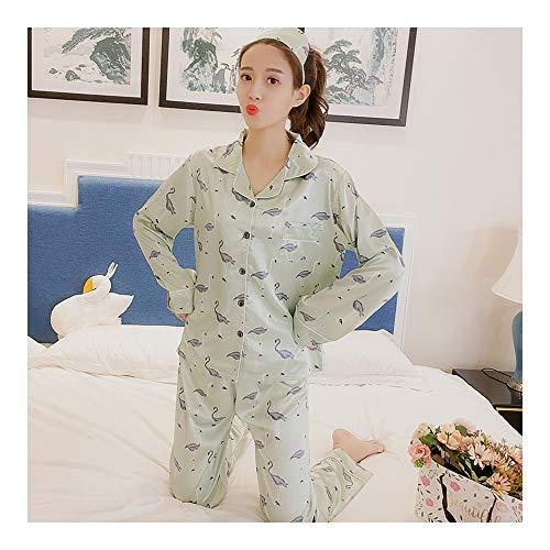 Haoliequan set da donna pigiama in seta confortevole set pigiama da donna in stampa set pigiama a maniche lunghe da notte autunno inverno donna set top, ht16892, m