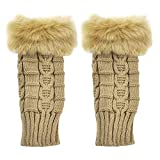 Bold N Elegant Faux Rabbit Hair Fur Extended Knitted Winter Thermal Warm Comfortable Fingerless Gloves Mittens Winter Accessories Hand Warmer for Women