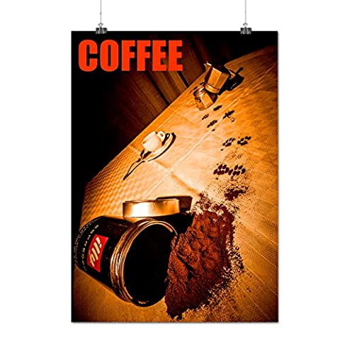 Sipped Coffee Can Cat Prank Matte/Glossy Poster A3 (42cm x 30cm) | Wellcoda