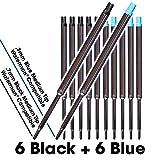 Jaymo - 6 noir + 6 bleu = 12 recharges de stylo à bille compatibles Waterman® - encre lisse à encre allemande avec pointe moyenne de 7 mm - à comparer avec les cotes Waterman® S0791020, S0791030