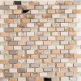 30x30cm Edelstahl, Perlmutt, Glas und Naturstein Mosaik Fliesen Matte in Ziegelstein Effekt (MT0145)