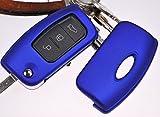 Klapp Schlüssel Hülle Hartschale Cover Blau für Ford Mondeo Focus C-Max Fiesta Kuga S-Max