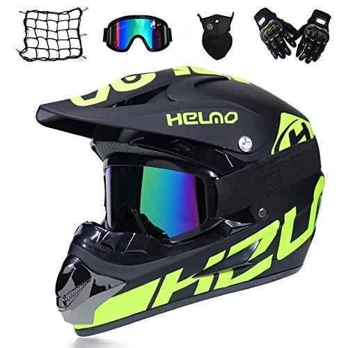 Motocross Helm - Schwarz und Grün - Downhill Helm mit Brille und Handschuhe (5 Stück) Motorradhelm Crosshelme Schutzhelm für MTB Enduro Sport Sicherheit Schutz,L