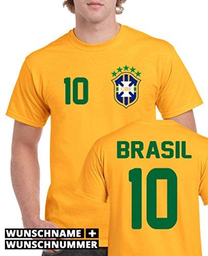 Comedy Shirts - BRASILIEN WM 2014 - WUNSCH Herren T-Shirt - Gelb/Blau-Grün Gr. L
