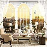 Liwenjun Tapete Wandbild Paris Fenstersofa TV Hintergrund Wand Papierwand 3D, 320 * -480CM