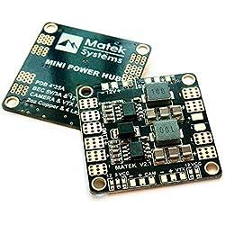 Crazepony-uk Matek PDB Placa de distribución de alimentación 5V 12V BEC Soporte de salida 3S-6S Batería para FPV Drone (36mm * 36mm, Version3.1)