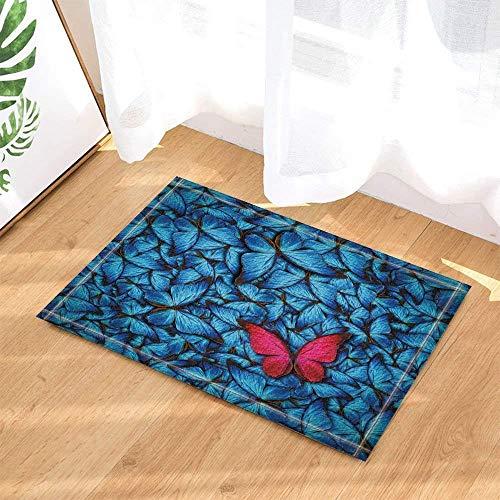 SRJ2018 Hermosa Mariposa Azul enjambre y una Mariposa roja Super Absorbente, Alfombrilla Antideslizante o tapete de la Puerta, Suave y cómoda