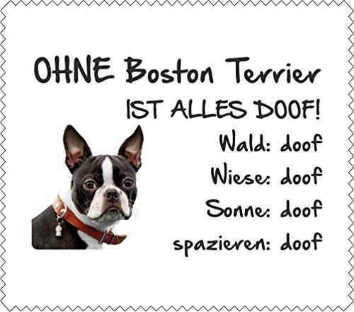 AdriLeo Brillenputztuch Displaytuch - Ohne Boston Terrier ist Alles doof! - 15x17cm