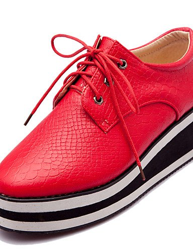 ZQ hug Scarpe Donna-Stringate-Formale / Casual-Punta squadrata-Plateau-Finta pelle-Nero / Rosso / Bianco , red-us10.5 / eu42 / uk8.5 / cn43 , red-us10.5 / eu42 / uk8.5 / cn43 white-us8.5 / eu39 / uk6.5 / cn40