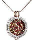 Unendlich U Fashion Damen Halskette Legierung Kristall Austauschbare Münze Anhänger Bunte Medaillon Vertellbare Pullover Kette, Rosegold