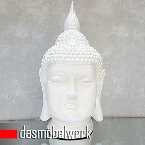 dasmöbelwerk Großer Buddha Kopf Figur Feng Shui Deko Lotus Asia Skulptur FROSTSICHER Garten 6 Farben (60 cm MZ, Weiß)