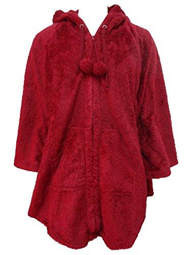 vestaglia mantella donna coral full zip con cappuccio NOI DI NOTTE art. 1716 Bordeaux