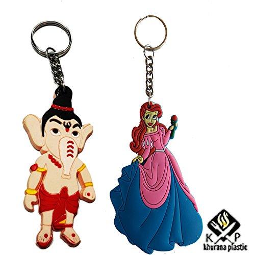Khurana Plastic Ganesha And Barbie PVC Figure Rubber Single Sided Keychain / Key Rings (Set of 2)