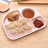 Weizenstroh Fiber Dinner Plate unterteilt Esstisch Snack Snack Tablett Frühstück Gerichte für Kinder Küche Geschirr - Pink