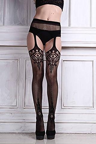 omiky® Sexy Bas porte-jarretelles avec bas et jarretelles, Sheer Collants cuisse Bas Haute Chaussettes montantes Motif arbitre pour femmes, noir,