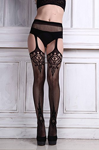 taottao Sexy Damen Dessous Netz Spitze Top Strumpfband Gürtel Thigh Stocking Strumpfhose (Gürtel Lace Strumpfband)