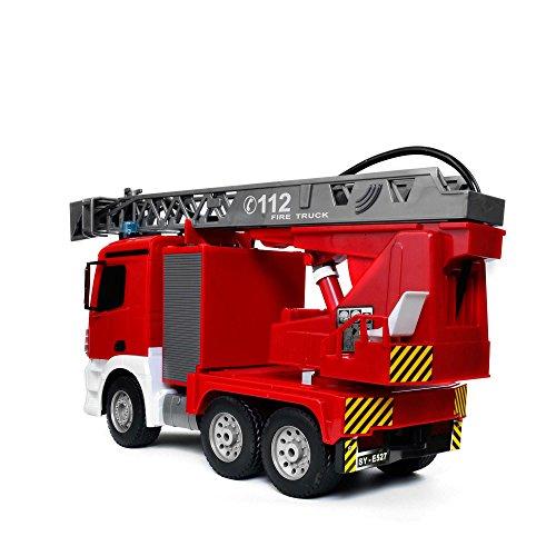 RC Auto kaufen LKW Bild 4: Mercedes-Benz Antos - original RC ferngesteuerter Feuerwehrwagen mit der neuesten 2.4GHz-Technik, wiederaufladbarer Akku, steuerbarer Rettungsleiter, Sound- und LED-Effekte, Komplett-Set inkl. Akku und Ladegerät*