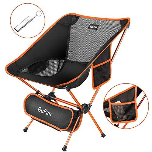 Bufan sedia da campeggio, pieghevole portatile compatta e leggera sedia con borsa da trasporto capacità 150kg, tessuto oxford 900d, lega di alluminio 7075 per campeggio, bbq, parco, spiaggia