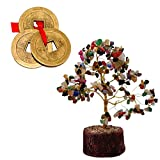 Divya Mantra Gemstone Crystal Bonsai Fortune Tree and 3 Lucky Chinese Coins