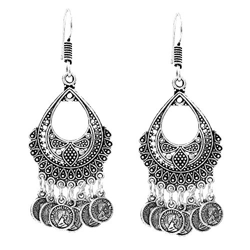 Silver Plated Oxidised Dangle & Drop pictorial Earrings For Girls And Women...