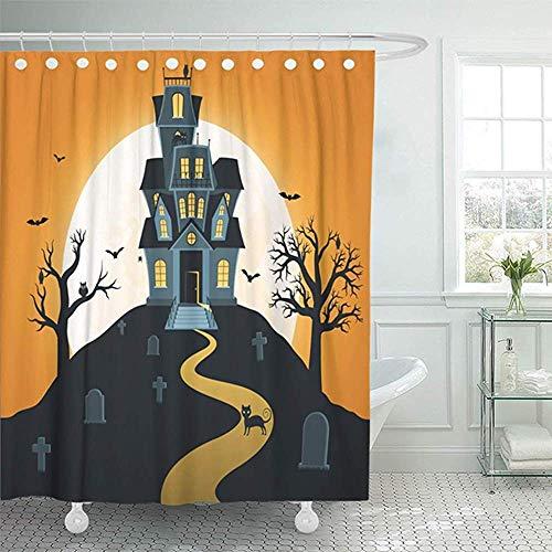 Sangeigt Duschvorhang Bath Curtain, Shower Curtain Home Decor Bathroom Scene Halloween with Castle and Full Moon Tombs Trees Bats Hallowen House Black Dark Shower Hooks Set Are Included