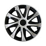 (Farbe & Größe wählbar) 16 Zoll Radkappen, Radzierblenden Draco Bicolor (Schwarz/Silber) passend für fast alle Fahrzeugtypen (universal)