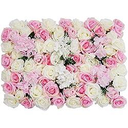 Shiwaki - Paravent de Fleurs artificielles - Toile de Fond Romantique pour décoration d'intérieur, fête de Mariage, Photo
