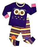 Attraco Unisex Jungen Schlafanzug Mädchen Schlafanzug Jung Pyjama Winter Zweiteileiger Schlafanzug Eule 104, 2-3 Jahre