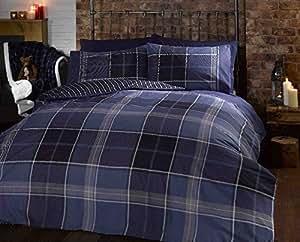 Argo Taille Double lit Bleu marine/Gris/Vert à carreaux classique à rayures Tartan Parure de lit avec housse de couette réversible pour lit de couloir ®
