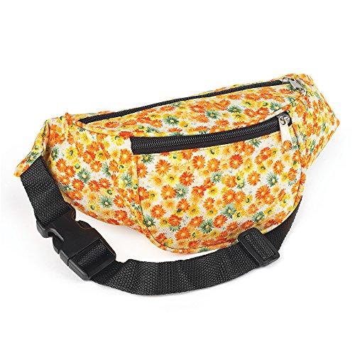 Yellow and Orange Tone Flower Print Bum Bag.