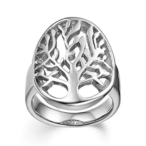 JewelryWe Schmuck Damen Herren-Ring Edelstahl Lebensbaum Baum des Lebens Hollow Ring Silber - Größe 65 (5 Schmuck Lebens Des Baum Unter)
